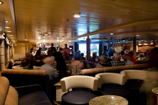 Guests aboard Silver Discoverer file into the Explorer Lounge on Deck 4 for our daily recap and briefing on our adventures for tomorrow. Photo © 2014 Aaron Saunders
