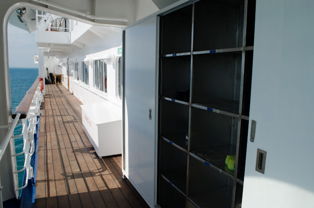 """Lockers for storing your """"Wet Landing"""" footwear are available on the port and starboard sides of Deck 5. Lockers are numbered by suite, and your locker corresponds to the side of the ship your suite is on. Photo © 2014 Aaron Saunders"""