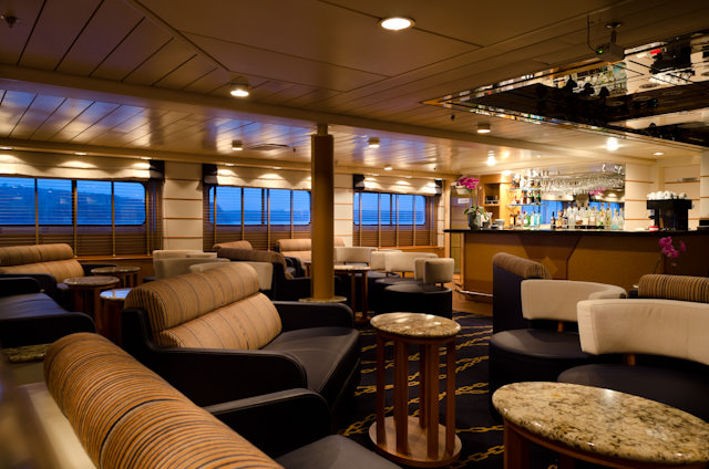 On the plus side: the inclement weather made the Silver Discoverer's public rooms ideal to photograph. Shown here is the Explorer Lounge, Deck 4. Photo © 2014 Aaron Saunders