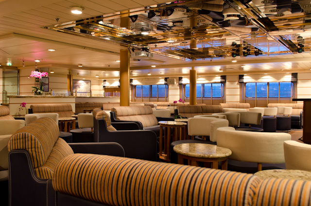 The Explorer Lounge aboard Silver Discoverer, facing forward. Photo © 2014 Aaron Saunders