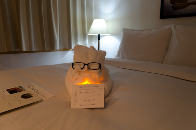 My Towel Animal and his message changed at night. Silversea's butlers and suite attendants are awesome! Photo © 2014 Aaron Saunders
