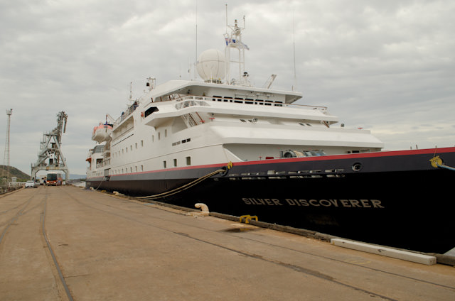 Silversea's Silver Discoverer in Wyndham, Australia. When we sail tonight, she will have completed her inaugural season in Australia's Kimberley. Photo © 2014 Aaron Saunders