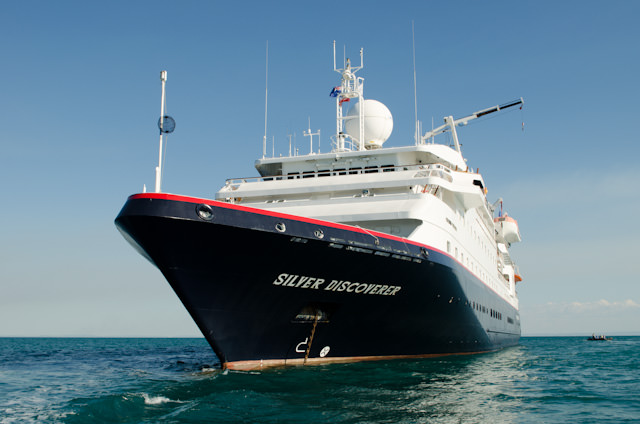 Silver Discoverer at anchor off Raft Point on Thursday, May 15, 2014. Photo © 2014 Aaron Saunders
