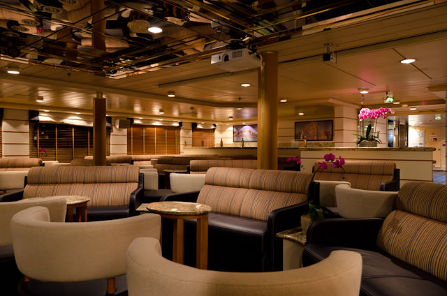 The Main Lecture Lounge aboard Silver Discoverer, facing forward. Photo © 2014 Aaron Saunders