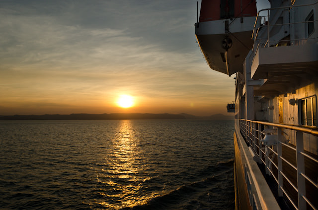 Watching the sun rise onboard Silver Discoverer as we make our way to Australia's Hunter River. Photo © 2014 Aaron Saunders