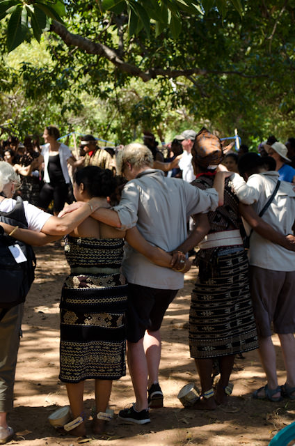 Guests from onboard Silver Discoverer dance with locals on Savu. Photo © 2014 Aaron Saunders