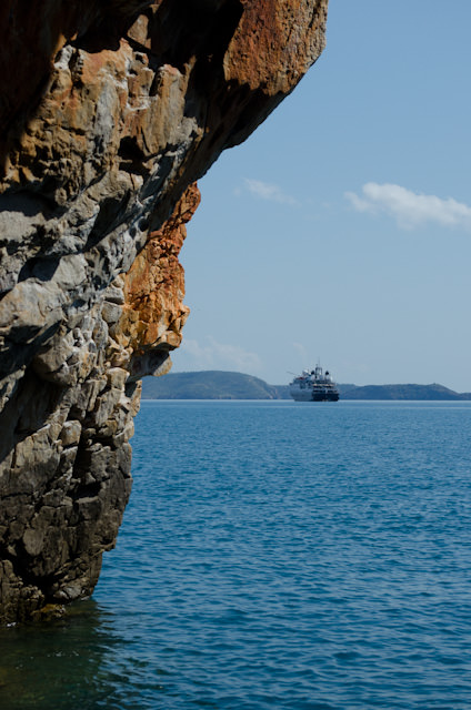 Looking back at Silversea's Silver Discoverer from Yampi Sound. Photo © 2014 Aaron Saunders