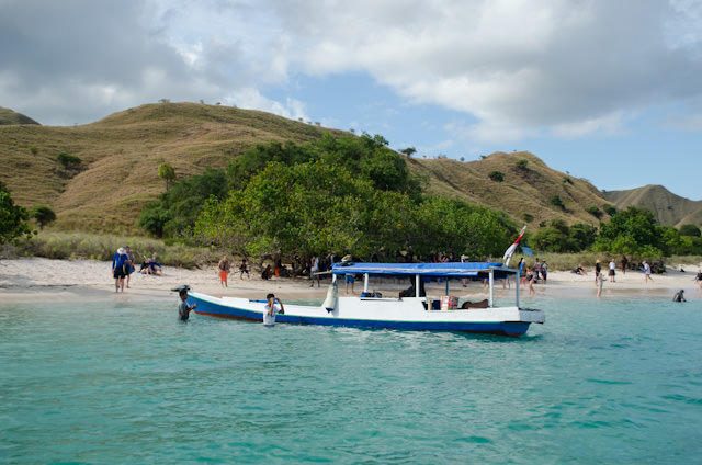 Arriving by Zodiac at Pink Beach on Komodo Island, Indonesia. Photo © 2014 Aaron Saunders