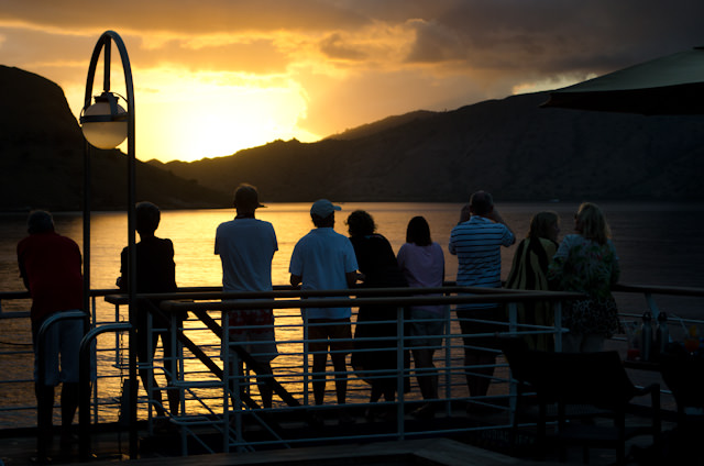 Guests aboard Silversea's Silver Discoverer were treated to a magical sunset this evening off Komodo, Indonesia. Photo © 2014 Aaron Saunders