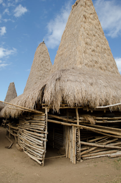 Traditional huts and nearby megalithic burial places litter this local village. Photo © 2014 Aaron Saunders