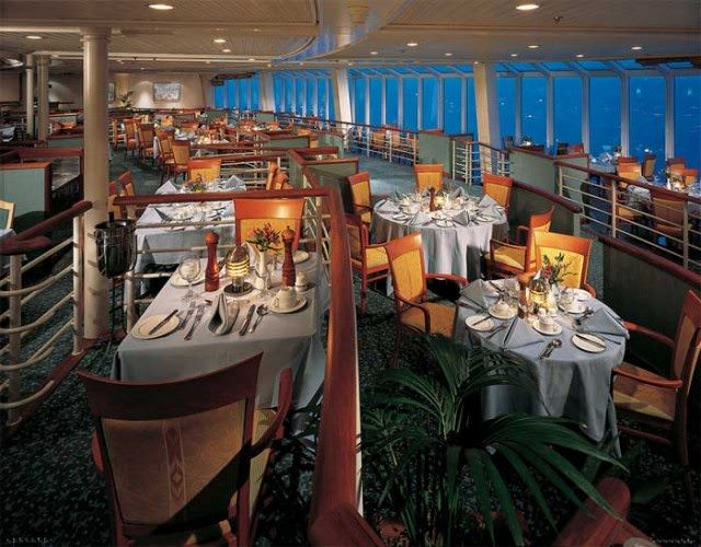 The Four Seasons Dining Room aboard the old Norwegian Wind, 1998. Norwegian was one of the first lines to come up with the multiple venue and specialty restaurant dining concept. Photo courtesy of NCL.
