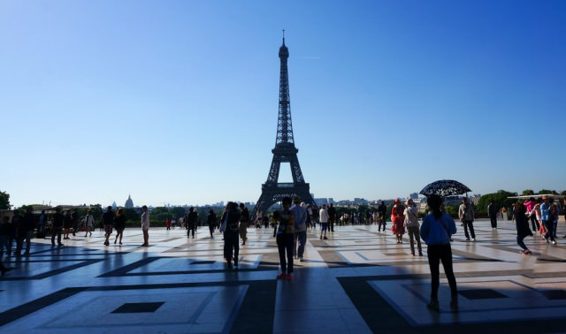 We stopped to photograph the Eiffel Tower. © 2014 Monica Frisk