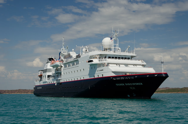Silversea's Silver Discoverer is the line's new luxury expedition ship. She's seen here off Raft Point, The Kimberley, Australia. Photo © 2014 Aaron Saunders