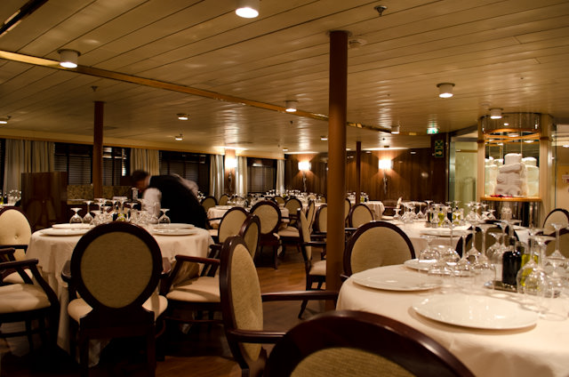 The Restaurant onboard Silver Discoverer has undergone a dramatic - and luxurious - transformation from her days as Clipper Odyssey. Photo © 2014 Aaron Saunders
