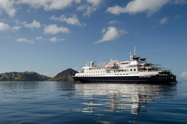 Silver Discoverer anchored off Komodo, Indonesia. Photo © 2014 Aaron Saunders