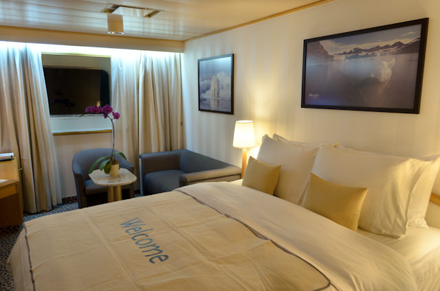 View Suites, on Decks 4 and 5, are identical to their Explorer Suite counterparts, with the exception of a picture window in place of the porthole windows. Photo © 2014 Aaron Saunders