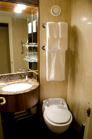 All bathrooms aboard Silver Discoverer have been completely redone to reflect the style first implemented aboard Silversea's flagship, Silver Spirit. Photo © 2014 Aaron Saunders