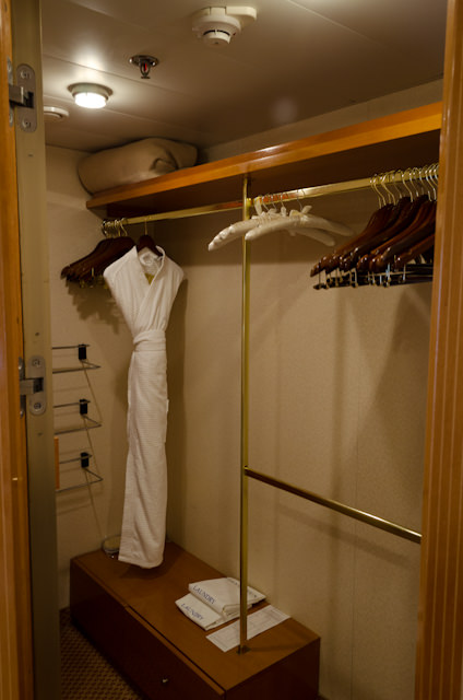 The walk-in closet in my Veranda Suite is large enough for a voyage twice the length... Photo © 2014 Aaron Saunders