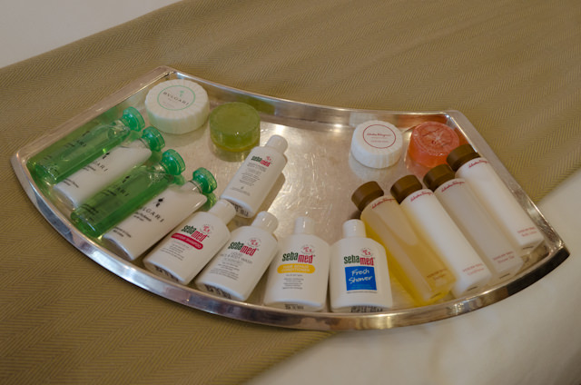 You can choose between three different kinds of toiletries, or nine different kinds of pillow. It's all about choice and personalizing your cruise experience. Photo © 2014 Aaron Saunders