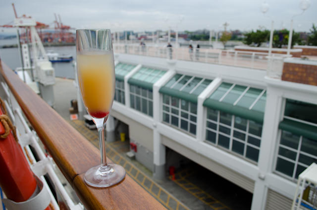 Pre-sailaway drink during our last moments docked in Vancouver. Photo © 2014 Aaron Saunders