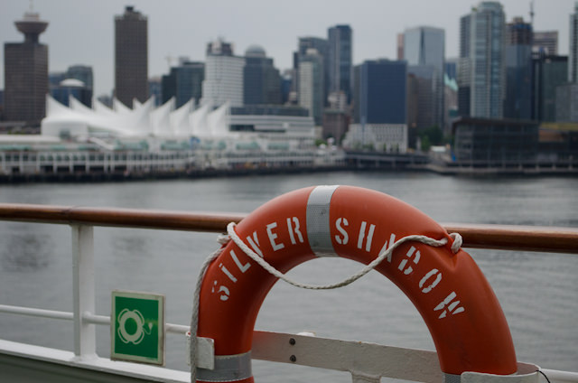 Silver Shadow departs Vancouver's Canada Place Cruise Terminal at 18:00 sharp. Photo © 2014 Aaron Saunders