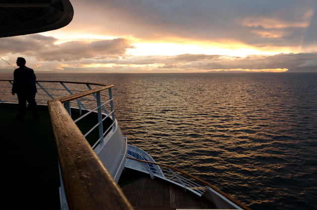 Silversea's Silver Shadow bathed in the fading light of day on Thursday, June 19, 2014. Photo © 2014 Aaron Saunders