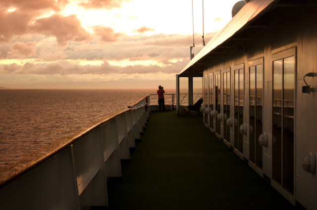 Silver Shadow sails into the sunset, bound for the Inside Passage. Photo © 2014 Aaron Saunders