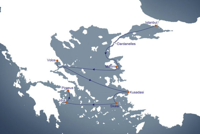 Our journey with Hapag-Lloyd is part of a much larger itinerary, Voyage 1428, aboard EUROPA 2. Illustration courtesy of Hapag-Lloyd Cruises