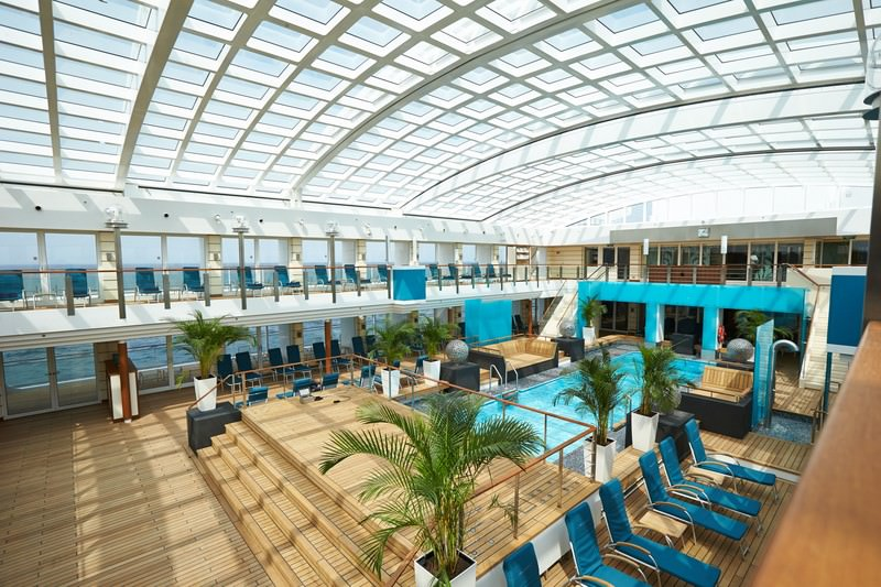 EUROPA 2's expansive, magrodome-covered Pool Deck. Photo courtesy of Hapag-Lloyd Cruises.