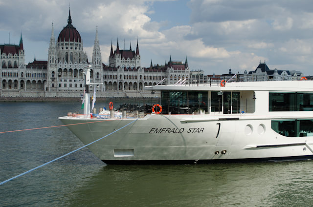 Emerald Waterways' Emerald Star at her berth in Budapest on Saturday, July 12, 2014. Both the line and the ship are brand-new to European river cruising. Photo © 2014 Aaron Saunders