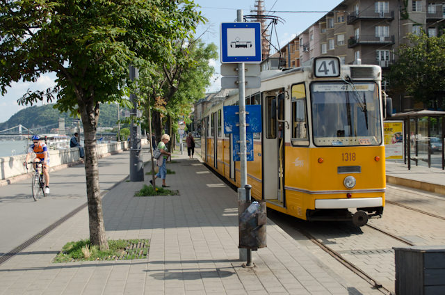 If you don't feel like walking, you can take the tram for just 350 Hungarian Forint. Photo © 2014 Aaron Saunders