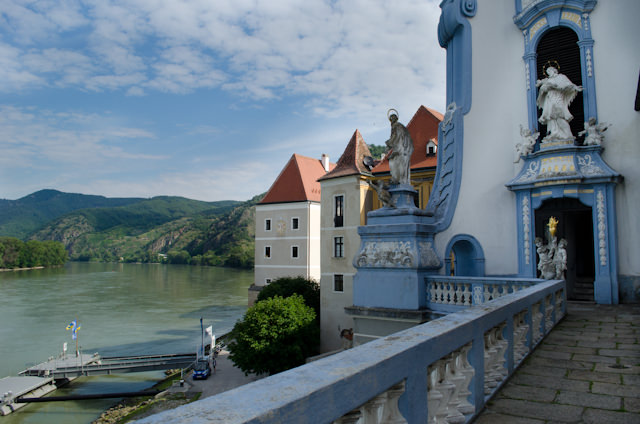 Standing on the outer balcony of Durnstein's most famous landmark: the blue-and-white Stift Durnstein. Photo © 2014 Aaron Saunders