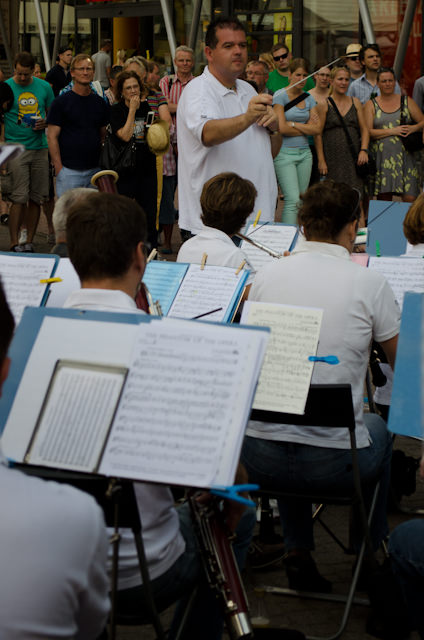 Everything takes place outside in Europe during the summer - like this classical concert off Vaci Utca, the main shopping street. Photo © 2014 Aaron Saunders