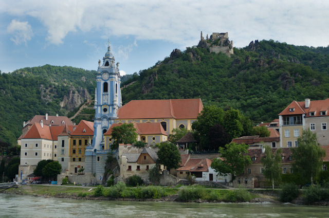 Durnstein - and Stift Durnstein - as seen from onboard Emerald Star as we make our way up the Danube towards Melk. Photo © 2014 Aaron Saunders
