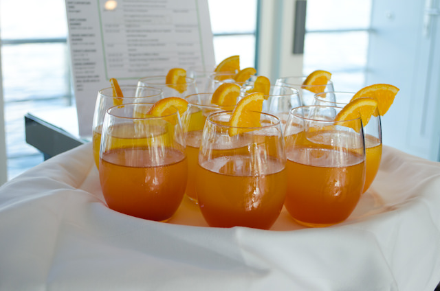 Welcome Aboard Drinks: a nice touch! Photo © 2014 Aaron Saunders