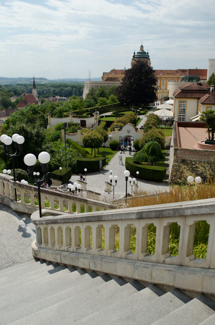 The elaborate terraced entryway at the rear of Melk Abbey...Photo © 2014 Aaron Saunders