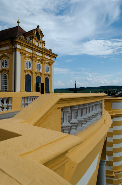 Exiting the Marble Hall takes you to a balcony overlooking both Melk and the Danube. Photo © 2014 Aaron Saunders