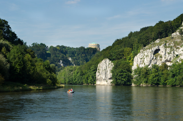 Seen from the ferry: the imposing Befreiungshalle rises above the hills. Photo © 2014 Aaron Saunders