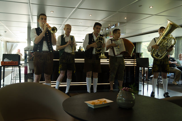 A traditional German Oompah Band performed for us in the Horizon Lounge this evening prior to dinner. Photo © 2014 Aaron Saunders