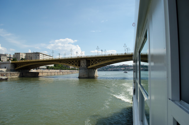 Emerald Star sails under the Margaret Bridge and up the Danube. Photo © 2014 Aaron Saunders