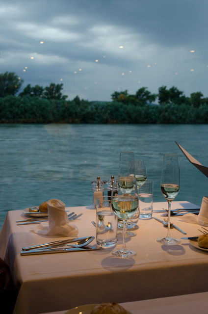 Dinner onboard Emerald Star, flanked by gorgeous views of the Danube. Photo © 2014 Aaron Saunders