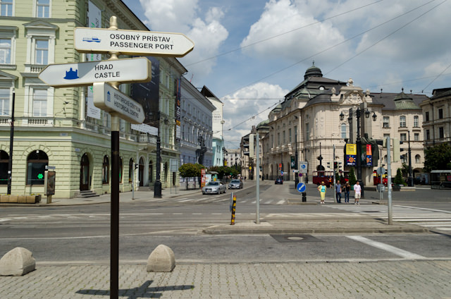 Getting around in Bratislava is easy thanks to handy directional signs. Photo © 2014 Aaron Saunders