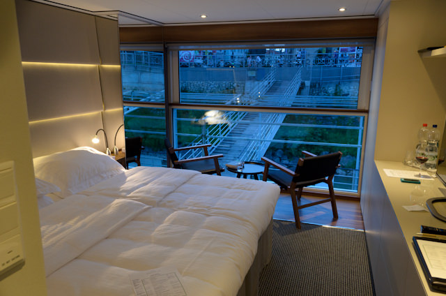 My Panorma Balcony Suite at night. Staterooms aboard Emerald Star are sleek, modern, and European in styling. Photo © 2014 Aaron Saunders