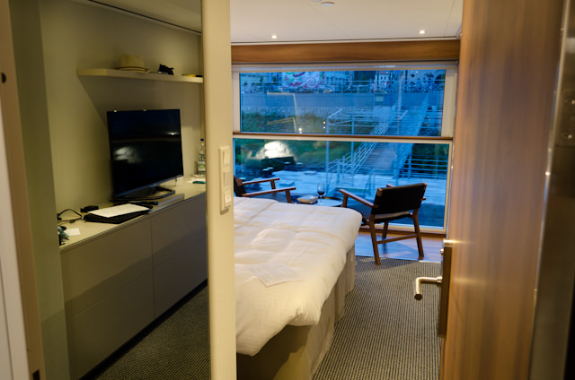 My Panorama Balcony Suite at Dusk, prior to departure from Bratislava. Photo © 2014 Aaron Saunders