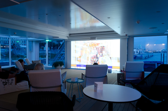 Enjoying the onboard Cinema at night on Emerald Waterways' Emerald Star. Photo © 2014 Aaron Saunders