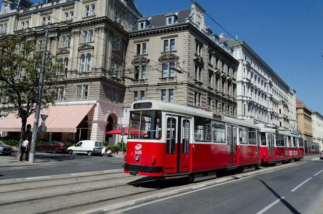 Back on the streets of Vienna. I could have taken a tram, like this one, but I preferred to brave the heat and walk the streets. Photo © 2014 Aaron Saunders