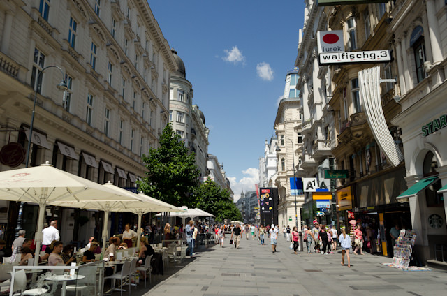 Vienna's main shopping street - Kartnerstrasse - during the hot, July afternoon. Photo © 2014 Aaron Saunders