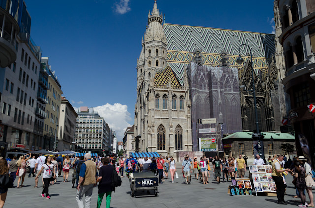 Stephansplatz. St. Stephan's Cathedral is (under renovation) on the right. Photo © 2014 Aaron Saunders