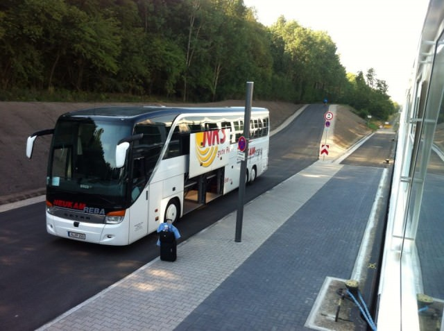 Time To Say Goodbye: our coach arrives in Nuremberg to take us to Nuremberg Airport. Photo © 2014 Aaron Saunders