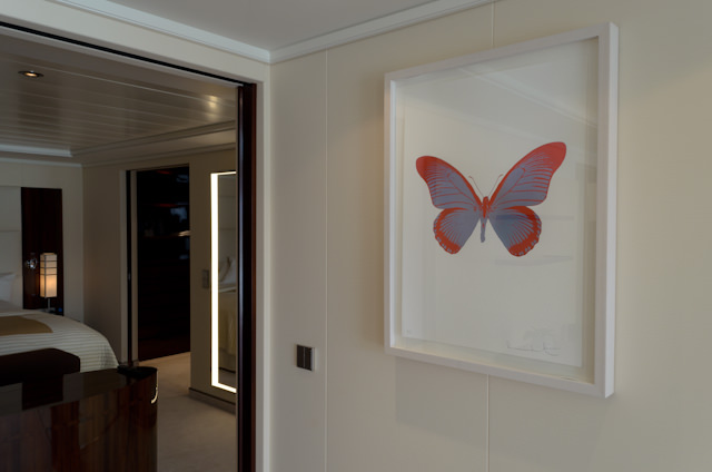 Original works of art by Damien Hirst. Note the butterfly motif that is present throughout EUROPA 2. Photo © 2014 Aaron Saunders